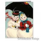 Vintage Repro 50s Snowmen Couple Christmas Cards