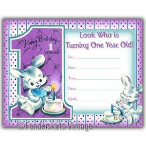 Vintage Retro First Birthday Bunny Party Invitations