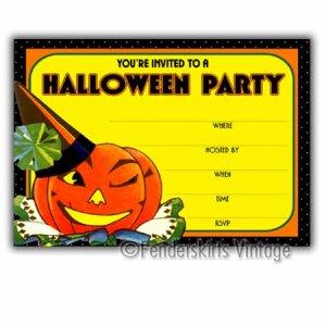 Vintage Retro Winking Jack Halloween Party Invitations