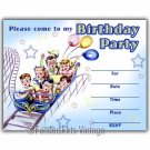 Vintage Retro 50s Kids Roller Coaster Party Invitations