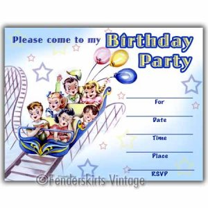 Vintage Retro 50s Kids Roller Coaster Party Invitations