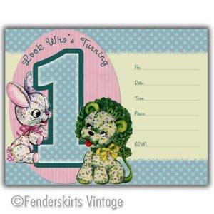 Vintage Retro Lion/Bunny 1yr Birthday Party Invitations
