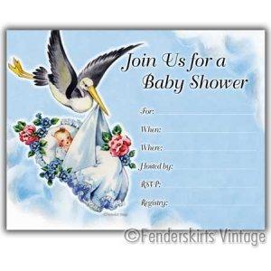 Vintage Retro 50s Baby Stork Shower Invitations Invite