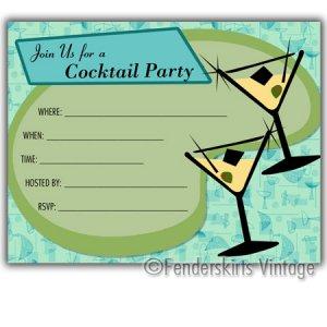 Retro Vintage 1950s Blue Cocktail Party Invitations