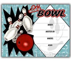 Retro Vintage 1950s Bowling Party Invitations