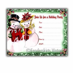 Vintage Retro Snowman Holiday Party Invitations