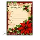 Vintage Retro Poinsettia Holiday Party Invitations