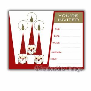 Vintage Retro 3 Santas Holiday Party Invitations