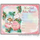 Vintage Retro Baby Girl Pink Bootie Shower Invitations