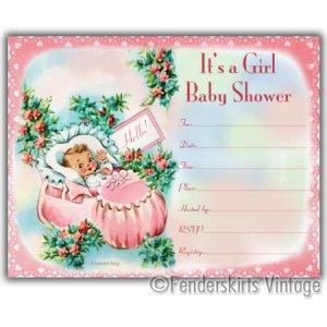 Vintage Retro Baby Girl Pink Bootie Shower Invitations