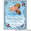 Custom Vintage Baby Boy Football Birth Announcements
