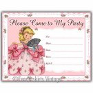 Vintage Retro Pink Girl Birthday Party Invitations