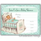 Vintage Retro 50s Baby Cradle Shower Invitations Invite