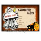 Vintage Retro Ghost Halloween Party Invitations