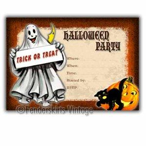 Vintage Retro Ghost Halloween Party Invitations