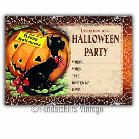 Vintage retro jack olantern halloween party invitations for Vintage halloween party invitations