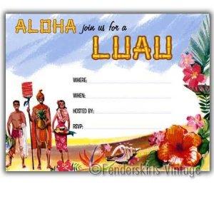 Retro Vintage 1950s Hawaiian Luau Party Invitations