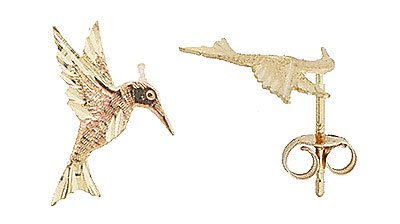 14K Italian Gold Humming Bird Stud Earrings