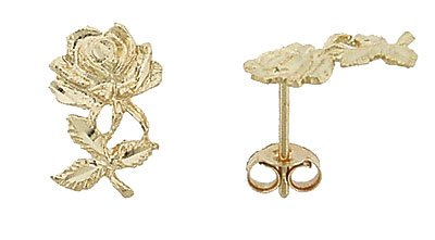 14K Italian Gold Rose Stud Earrings