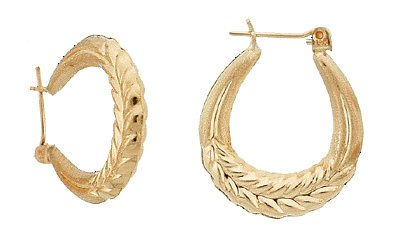 14K Gold Scored Snap-Bar Hoop Earrings