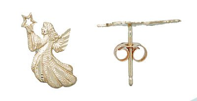 14K Gold Angel Stud Earrings
