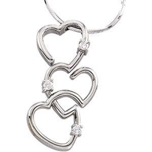 14K White Gold Triple Hearts Diamond Necklace