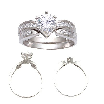14K White Gold Signity Star CZ Wedding Ring Set