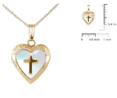 Child's 14K Gold Mother of Pearl Cross Heart Locket w/Chain