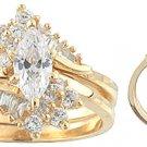 14K Yellow Gold Signity Star Marquise CZ Wedding Set