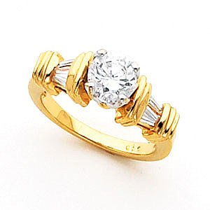 14K Yellow Gold Signity Star Tulipset CZ Engagement Ring