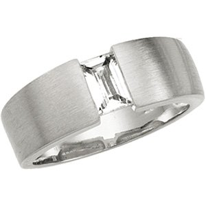 Sterling Silver Signity Star Straight Baguette CZ Ring