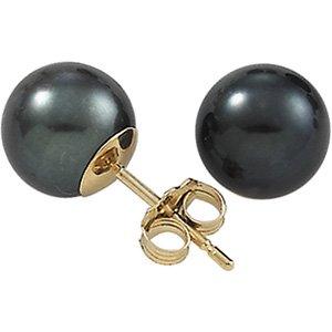 14K Yellow Gold Genuine Black Cultured Pearl Stud Earrings