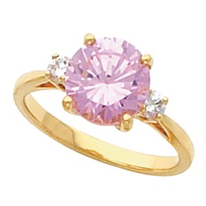 14K Yellow or White Gold Violet Sapphire & Diamond Ring