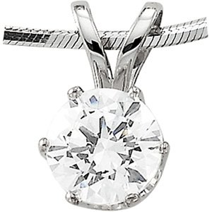 14K Yellow or White Gold 3/4 CTW Round Cut CZ Pendant