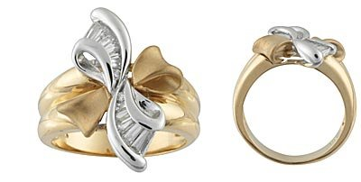 14K Gold Two Tone Ribbon Ring with CZ's