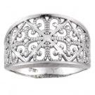 14K White Gold Diamond Cut Filigree Ring