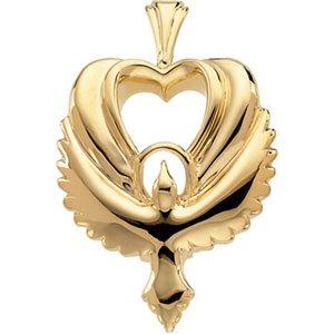 14K Gold Heart Shaped Holy Spirit Dove Pendant