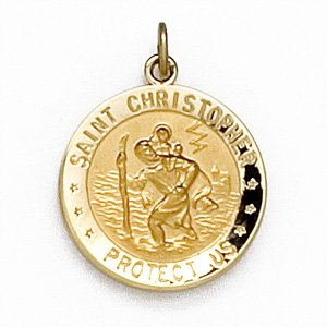 14K Gold US Airforce/St Christopher Double Sided Medal