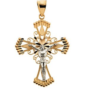 14K Gold Two Tone Crucifix Pendant