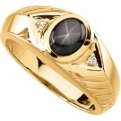 14K Gold Mens Black Star Sapphire & Diamond Ring