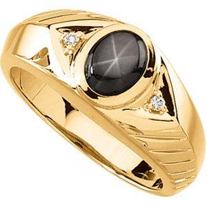 14K Gold Mens Black Star Sapphire & Diamond Ring