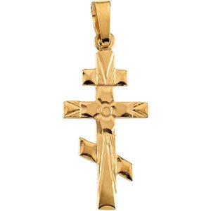 14K Gold Orthodox Cross Pendant