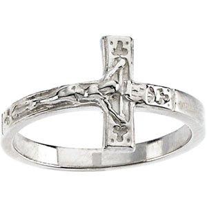 14K White Gold Crucifix Ring