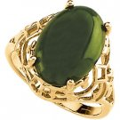 14K Gold Genuine Green Jade Sculptured Ring