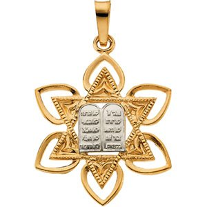 14K Gold Two Tone Star of David Pendant