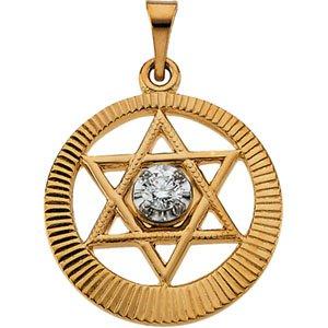 14K Gold & Genuine Diamond Star Of David Pendant