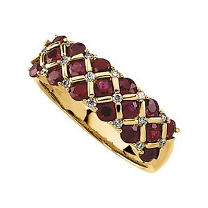 14K Yellow Gold Genuine Ruby & Diamond Ring
