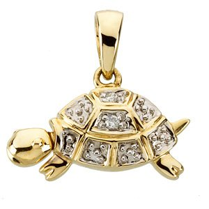 14K Gold Trudy the Turtle Waggles� Pendant
