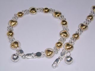 Sterling Silver Charm Bracelet Two tone Gold Plated