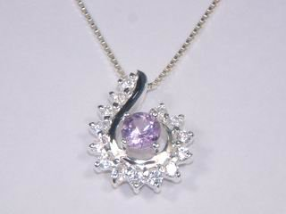 Sterling Silver Pendant with Amethyst and 14 CZ's